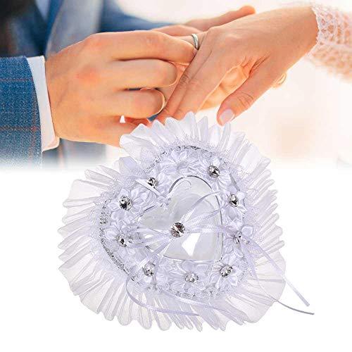 Womdee Ring Bearer Kissen, Verlobungsring Kissen Kissen kleine Hochzeit Lace herzförmige dekorative Kissen mit Ring Inhaber Box, romantisch weiß