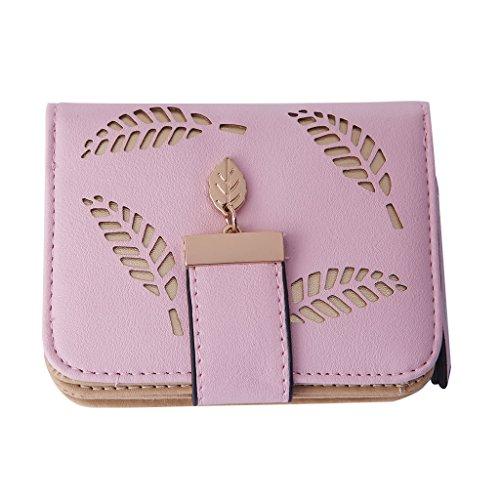 Dairyshop Borsa donna Portafoglio Borsa della signora della frizione del raccoglitore del raccoglitore breve del faux di modo (Pink) Pink