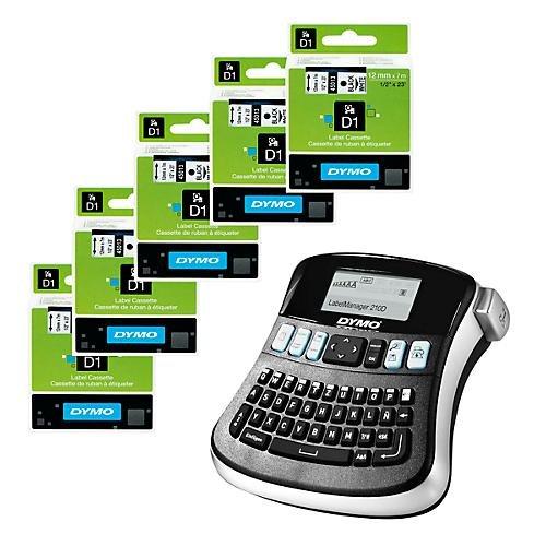 Preisvergleich Produktbild DYMO® Schriftbandkassetten 45013, 5 Stück + Beschriftungsgerät LabelManager 210