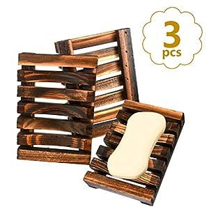 BUYGOO 3 x Jabonera de Madera Natural, Bandeja de jabón para Ducha portatil Soportes de jabón para Ducha de baño