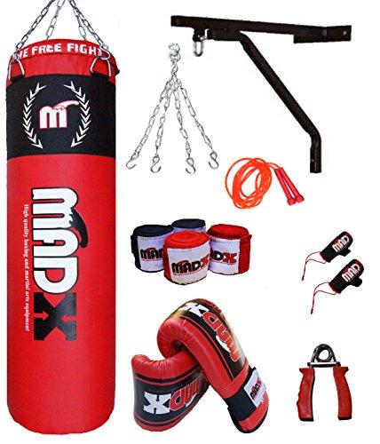 MADX - Set per boxe e MMA con sacco, guantoni, staffa da parete, 10 pezzi