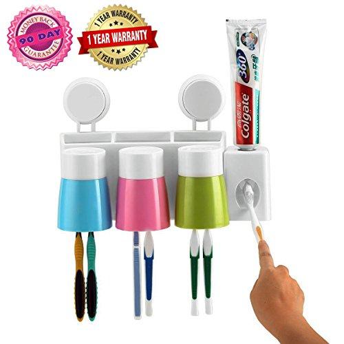 (Zahnpasta Dispenser Zahnbürstenhalter Anti-Staub mit 3 Tassen Wand montierten Badezimmer Zahnbürste Lagerung spart platz)