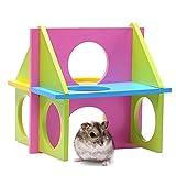 Juguete de madera de madera de juguete de madera para el hámster Gerbil rata ratón de mascotas de animales pequeños jaula