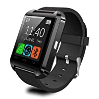Hibote Uwatch u8 Touch Screen Bluetooth Smart Watch Phone Mate iOS Android akıllı telefonlar için iPhone 6/5S/5 °C/5/4S/4 Samsung Galaxy Note 4/Note 3/Note 2/S5/S4/S3 HTC Sony Blackberry ve daha fazla (Siyah)