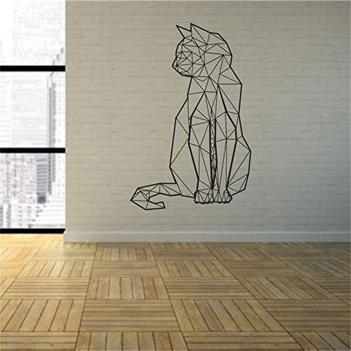 Geiqianjiumai Tier Katze Wandkunst Vinyl Applique Schlafzimmer Spiel Transfer Grafik Geometrie Art Deco Schwarz 58 x 89cm