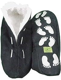 Echtleder / Veloursleder Hausschuhe mit Fell Innenfutter Mokassins Pantoffeln ABS-Stopper ab Gr: 35 (sch44)