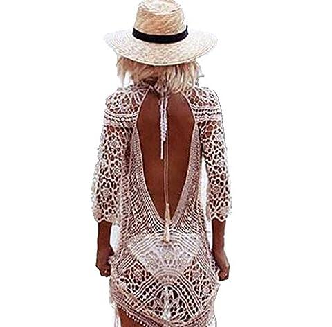 Mangotree Damen Boho Spitze Häkeln Bikini Cover Up Nackten Rücken Strandkleid Beachwear Badeanzug Sommerkleid Tunic Tops (One size, Weiß)
