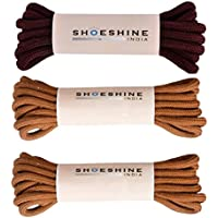 Shoeshine India Round Shoe & Boot Laces 120 Cm Long For Hiking Or Casual Boots - 3 Pair Set
