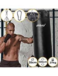 Sac de Frappe Plein | Rempli, Ø35 cm, H100cm, Poids 27 kg, Chaîne de Suspension 4 points et Mousqueton Inclus | Punching Bag Boxe, MMA, Muay Thai, Kickboxing, Arts Martiaux, Taekwando, Fitness, Sport