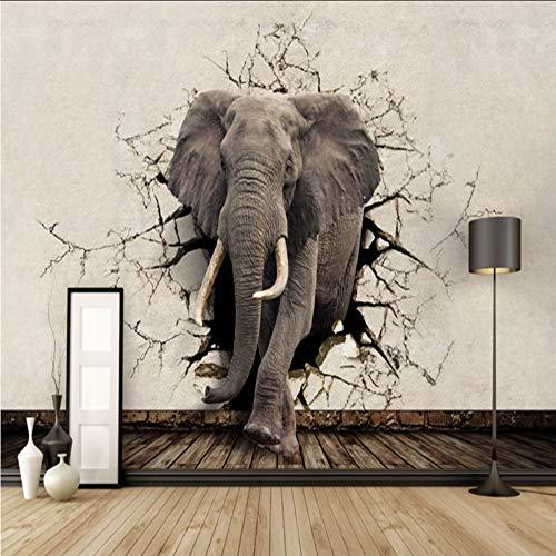 Qwerlp Custom 3D Lifelike Animal Mural De Pared Rhino Lion Elefantes Papel...