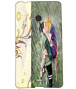 Fuson Rain Love Couple Back Case Cover for NOKIA MICROSOFT LUMIA N540 - D3810