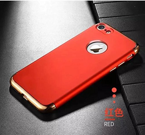 iPhone 7 Plus Case, JOYROOM 3 in 1 Ultra Thin and Slim Design Coated Premium Non-Slip Surface Shockproof Resist Cracking Electroplating PC Skin Protector for iPhone 7 Plus(Gold) Red