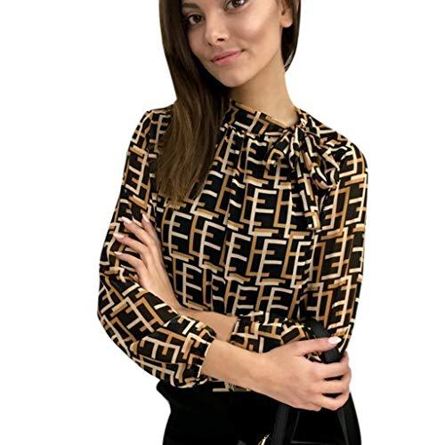 iHENGH Damen Top Bluse Lässig Mode T-Shirt Frühling Sommer Frauen Bequem Blusen Lässige Print Rollkragen Langarmbogen Frenulum ()