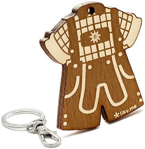 LIKY® Oktoberfest Lederhose Tracht - Schlüsselanhänger Original aus Holz Gravur Geschenk Damen Herren Geburtstag Hobby Schmuck Anhänger Tasche Rucksack