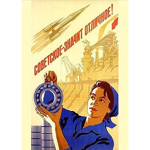 La Unión Soviética rusa espacio significa excelencia c1960 es Propaganda sovietica 250gsm polarmk tarjeta del arte A3
