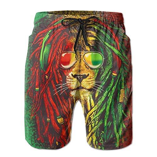 Personality Beach Pants Shorts Reggae Rasta Flag Lion Men's Printing Quick Dry Beach Board Shorts Swim Trunks (Rasta Herren Shorts)