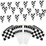 OOTSR 30 Piezas de Banderas de Carrera a Cuadros con Palos de Plástico y 32 Pies de Pancartas Banderas Banderines a Cuadros para Fiesta Temática de Carrera de Cumpleaños Eventos de Deporte