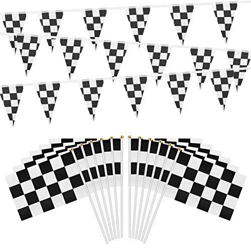 OOTSR 30 Stück Karierten Rennen Flaggen mit Kunststoff Sticks und 32 Fuß Karierten Wimpel Fahnen Banner für Geburtstag Rennen Motto Party Sportveranstaltungen