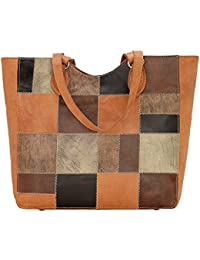 American West Women's Groovy Soul Large Zip Top Tote Bag Tan One Size