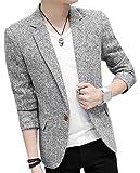 Herrensakko Slim Fit Blazer Smart Anzugjacken Freizeit Fashion Revers Langarm Business Sakko 1 Knopf Männer Casual Modern (Color : Grau, Size : M)