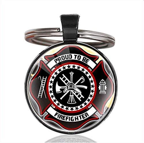 VAWAA Mode Feuerwehr Enteinig Schlüsselanhänger Clasic Stolz, Feuerwehrmann Kunst Glas Cabochon Schlüsselanhänger Sein -