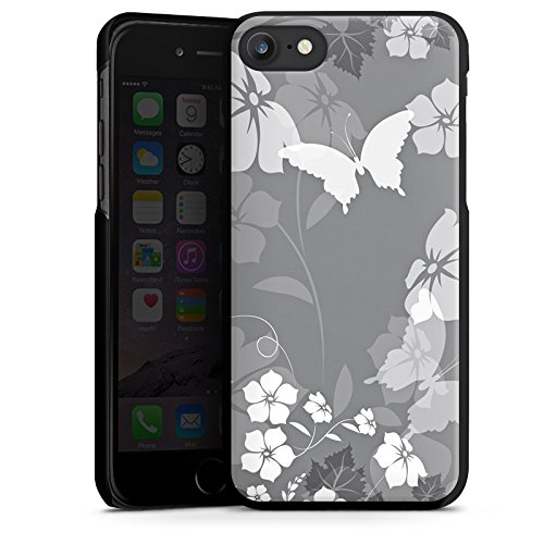 Apple iPhone X Silikon Hülle Case Schutzhülle Blume Schmetterling Grau Hard Case schwarz