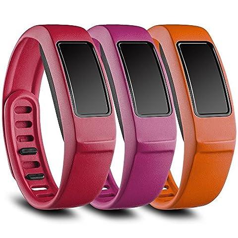 Funkid Band pour Garmin Vivofit 2, bracelet de rechange avec fermoir en métal pour Garmin Vivofit Bandes, Red, Pink, Orange