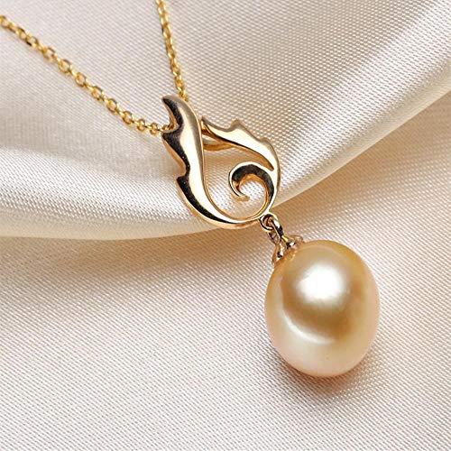 Lnyy South Sea Goldene Perle Anhänger natürlichen See Perle 18K Gold Anhänger Halskette Meer Goldene Perle Halskette (Golden South Sea)