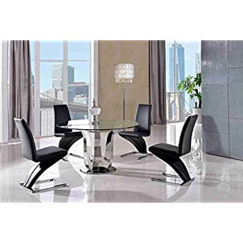 Naples 130cm Round Steel Glass Dining Table 4 Faux Leather Black Chairs Diameter