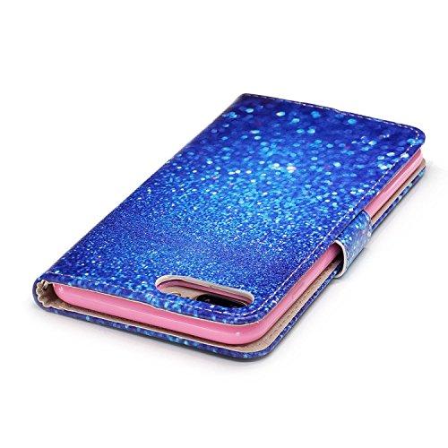 Linvei iPhone 7 Plus(5.5inch) Coque,Etui Anti Chocs Back Cover Bumper Case Anti Scratch Shock Absorption for Apple iPhone 7 Plus(5.5inch)-Conception de fleurs de prunier Beau sable bleu