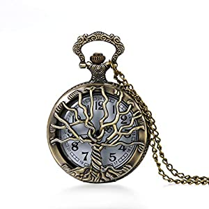 JewelryWe Retro Baum des Lebens Taschenuhr Herren Vintage Hohle Lebensbaum Analog Quarz Uhr mit Kette Umhängeuhr Pocket Watch Bronze Vatertagsgeschenk