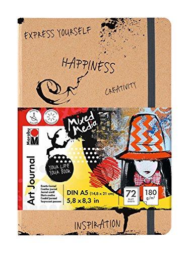 Marabu-161200100-Art-Journal-Book-DIN-A5-72-Blatt-Papier