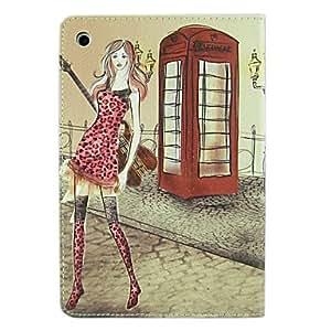Acheter Moderne Tall Girl tenant Pattern PU Case Full Body de guitare avec support pour iPad mini