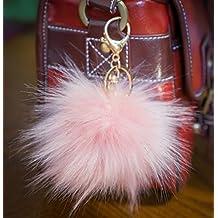3per 2. 12cm Grande e morbida, in finta pelliccia Raccoon Stile POM POM grande designer oro chiusura portachiavi ciondolo