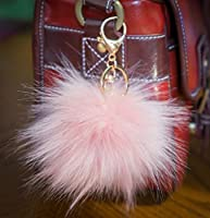 3 FOR 2! Baby Pink 12cm Large Fluffy FAUX / FAKE fur raccoon style Vegan Vegetarian Cruelty free pom pom big designer gold keyring clasp charm (Baby Pink)