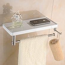 Multifunzione in acciaio inox da parete a doppia mensola porta carta igienica, Bianco Pittura, bianco