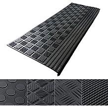 Antirutsch Stufenmatten aus Gummi mit Winkelkante | rutschhemmend für außen und innen | zwei Größen zur Wahl im 5er Set | viele Designs für Ihre Treppe | Design Relief - 65 x 25 cm