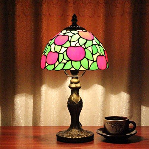 8 pulgadas de manzana roja Pastoral Antiguo estilo de lujo Tiffany lámpara de mesa de vidrio hecho a mano Bedside cama de la habitación de la luz de los niños