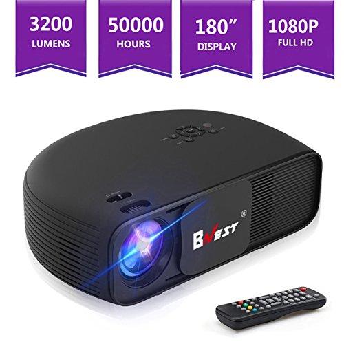 Mini Beamer,Bnest LCD Video-Projektor Unterstützung 3200 Lumens 1280x800 mit HDMI USB VGA AV, Multimedia Heimkino Spiel Film XBOX ONE Video Beamer Home Cinema für Party, Game, Education, Präsentation