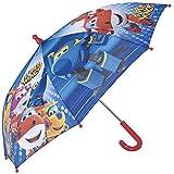 Regenschirm Super Wings - Kinderschirm, robust, windfest - Sicher Kinderregenschirm mit abgerundeten, blockierten Spitzen - manuelle Sicherheitsöffnung - Perletti