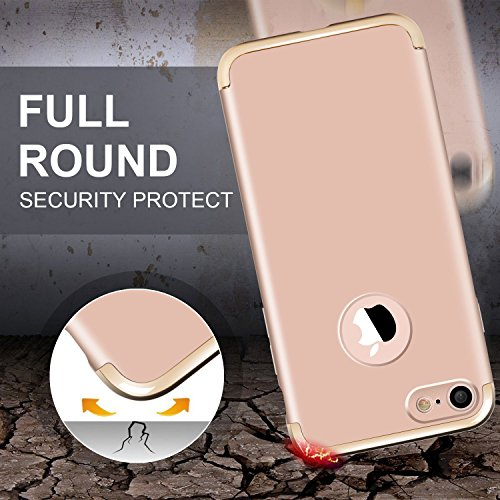 iPhone 7 Hülle, Imikoko Ultra Schlank 3 In 1 Hybrid Elektroplattierter Kappen Hart Hard PC Case Schale Schutz Schutzhülle Tasche Bumper mit Chrom Rahmen für Apple iPhone 7(Blau) Golden