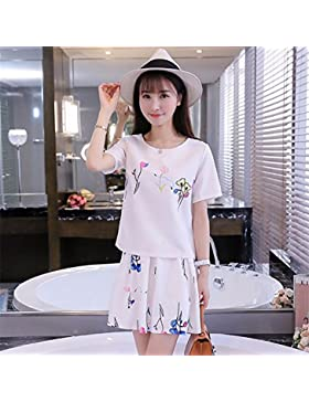 Elegante paquete de verano faldas coreano vestidos de manga corta,S,blanco
