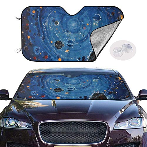 VTIUA Parasol para Parabrisa,parasoles de Coche Auto Starry Sky Portable Universal Sunshade Keeps Vehicle Cooler for Car,SUV,Trucks,Minivan Automotive and Most Vehicle Sunshade (51 X 27 in)