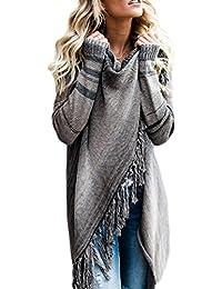 Zilcremo Mujer Frente Abierto Borla Cardigan Abrigos Suéter Poncho De Punto Suéteres Top (ES XL/CN XXL, Grey)