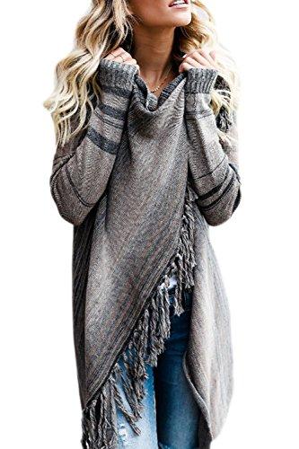 Zilcremo Mujer Frente Abierto Borla Cardigan Abrigos Suéter Poncho De Punto Suéteres Top Grey L