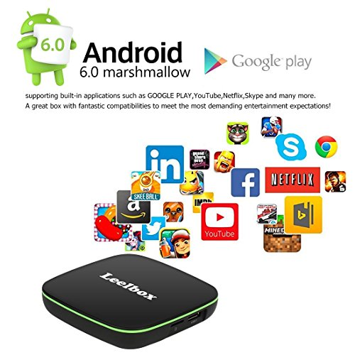 Leelbox Q1 Android TV Box Smart TV Box Quad core Android 6.0 1GB RAM+8GB ROM/WIFI 2.4GHz 4K(60HZ)/BT 4.0/HD Android Box
