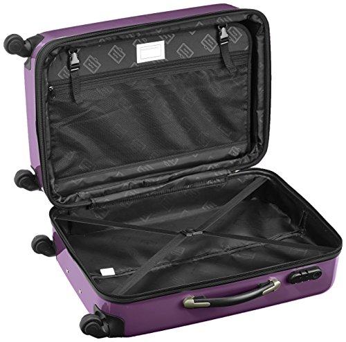 HAUPTSTADTKOFFER - Alex - 2er Koffer-Set Hartschale glänzend, 65 cm, 74 Liter, Graphit-Schwarz Aubergine