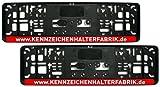 Satz (2 Stück) Kennzeichenhalter - KURZ (46 cm) - ROTE LEISTE - MIT INDIVIDUELLEM WUNSCHTEXT - VERSANDKOSTENFREI! - PREMIUMQUALITÄT - Nummernschildhalter Kennzeichenträger Nummernschildträger Kennzeichenverstärker Nummernschildverstärker Beschriftung Werbung Spruch Text personalisiert Rot