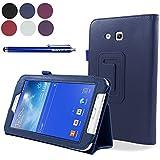 SAVFY® Funda Carcasa cubierta Cuero + Stylus + protector de pantalla Para Samsung Galaxy Tab 3 7.0 Lite SM-T110 T110, Azul