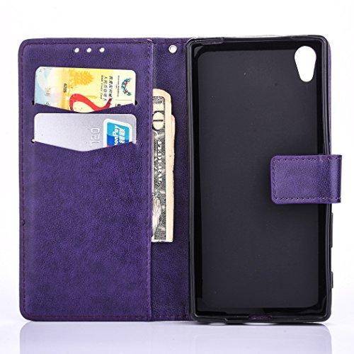 Hülle für Sony Xperia XA, Tasche für Sony Xperia XA, Case Cover für Sony Xperia XA, ISAKEN Farbig Blank Muster Folio PU Leder Flip Cover Brieftasche Geldbörse Wallet Case Ledertasche Handyhülle Tasche Blank Einfarbig Violett